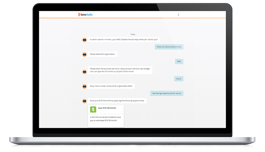 Manage cloud resources directly through BMC Helix Chatbot